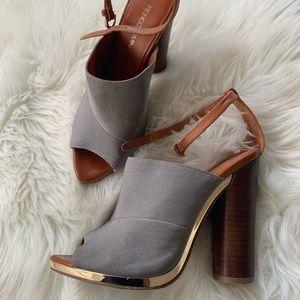 REBECCA MINKOFF Women's Gray Ankle Straps Heels 8